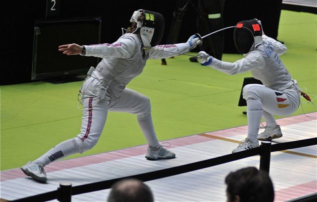 Fencers in competition