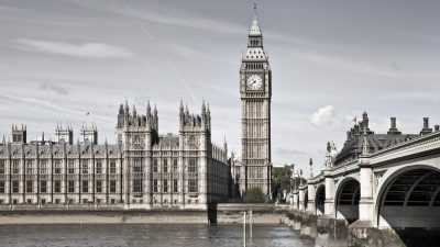 London, UK - May 14, 2014: Big Ben and Houses of Parliament. View from the Thames embankment
