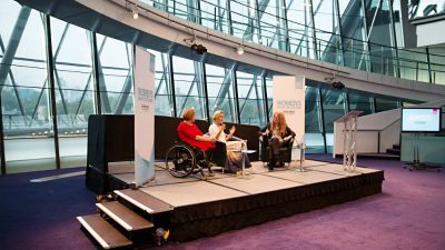 Tanni Grey-Thompson, Martha Lane Fox, Sally Hancock on stage