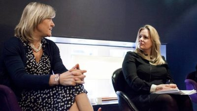 Debbie Jevans & Alison Kervin in discussion at a Women's Sport Network event