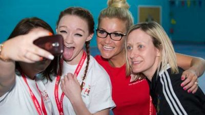 Helen Skelton and girls from the Girls Active camp