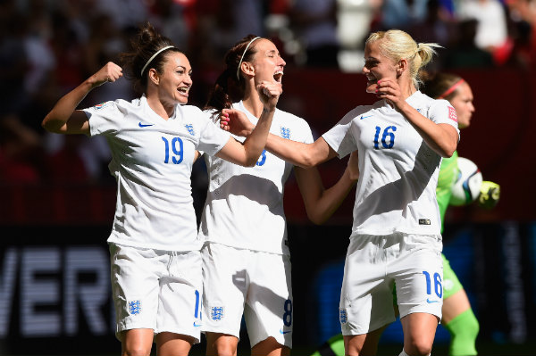 England's Jodie Taylor celebrates scoring at the Women's World Cup. Image courtesy of Getty Images