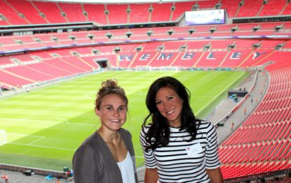 Jo Tongue & Izzy Christiansen above the Wembley pitch