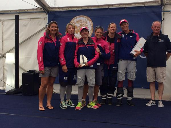 Team SCA crew with VO65 Category trophy