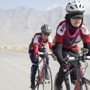 Afghan women cycling