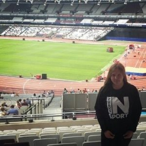 Sophie at the Anniversary Games at the London Stadium