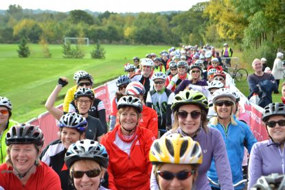 Women cycling at a Breeze event