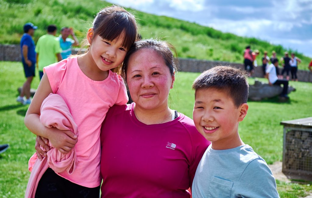 Mum with son and daughter in running kit