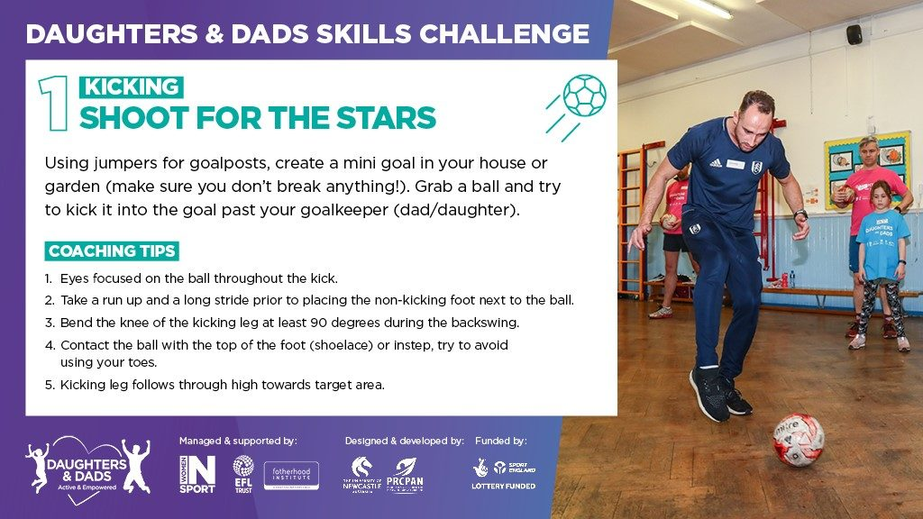 Inforgraphic explaining the Daughters and Dads Skills Challenge 1 which is kicking