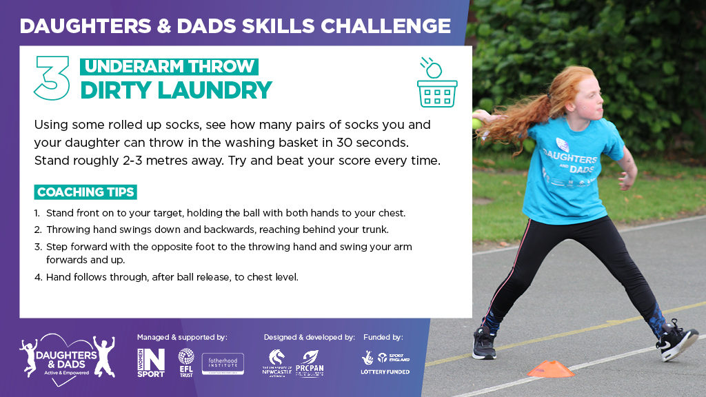 Daughters and Dads Skills Challenge Underarm Throw