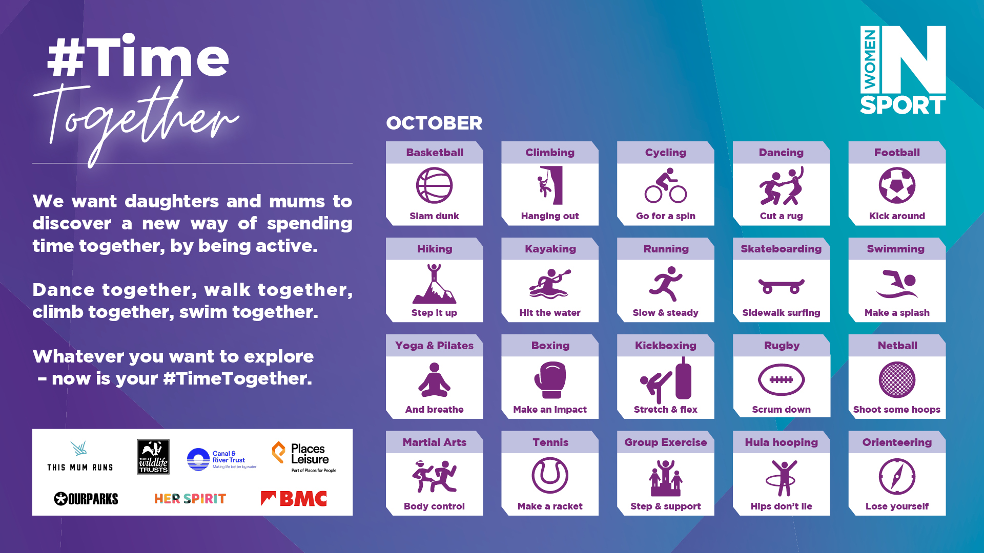 #TimeTogether infographic of activities